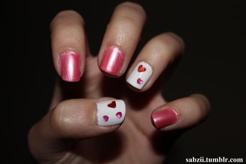 Valentines Day Stud Hearts Nails