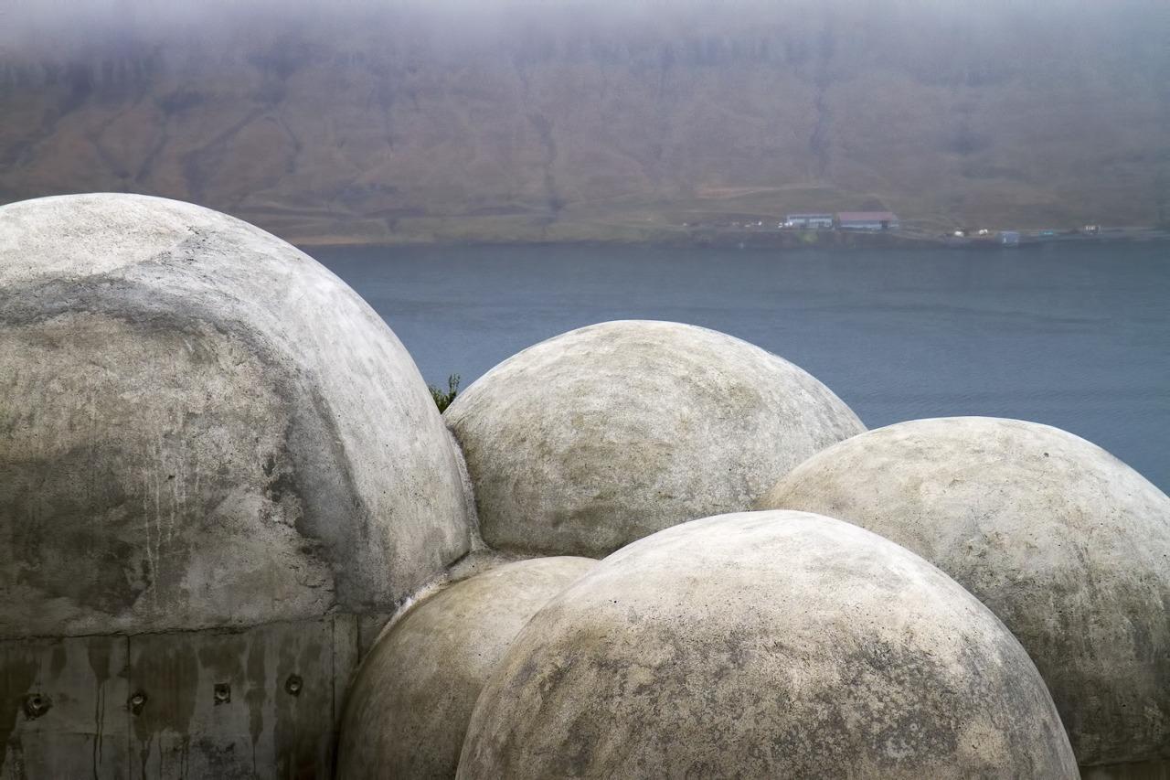 Domes of the Tvísöngur sound sculpture by Lukas Kühne in Seyðisfjörður.