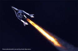 "discoverynews:  SpaceShipTwo Aces First Supersonic Rocket Test SpaceShipTwo, a six-passenger, two-pilot suborbital spaceship owned by Virgin Galactic, an offshoot of Richard Branson's Virgin Group, fired up its rocket engine for the first time on Monday to successfully complete a 16-second, supersonic test flight Branson called ""critical."" Read more"