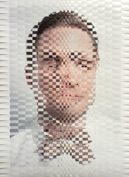 "Kevin Dohn, DesignerTwo ultrachrome prints woven together, 26"" x 19"" 2013"