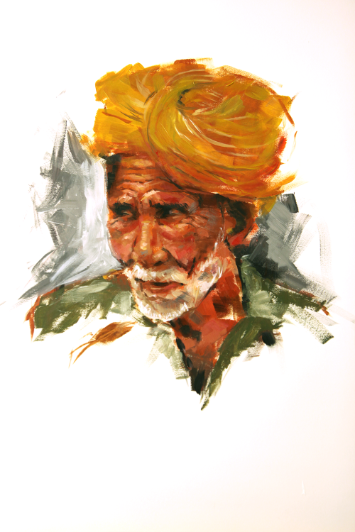 Indian Man Portraiture Acrylic on Mixed Media Paper   It's been a while since I've painted something traditional, and in celebration of my new super-awesome easel I decided to try a hand at painting again.  I found that the piece looks better from a distance - it's pretty messy-looking up close… On a side note, the camera exaggerated the contrast a little (and my post-processing methods didn't help that much…) On another side note, look at this fella's work! : http://www.maztravel.com/art/kelley/index.html