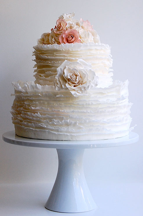 pixelmusings:  Delicate frills surround this cake topped with sugar roses. on We Heart It - http://weheartit.com/entry/52969044/via/pixelmusings
