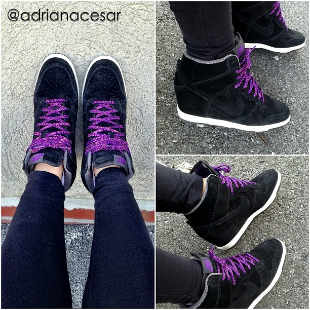 #WDYWT Kicks Of The Day @nikewomen #Nike Dunk Sky Hi wedge #black #purple #kicks #wedgekicks #sneakerholics #sneakerhead #fresh #igers #urban