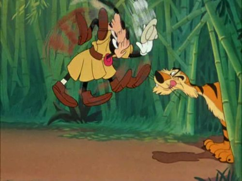 "animationsmears:  ""Tiger Trouble"" (1945) Goofy, Disney  A still drawing from back in the day when every cell had to be hand drawn. Relevant to time based art and marks made in time."