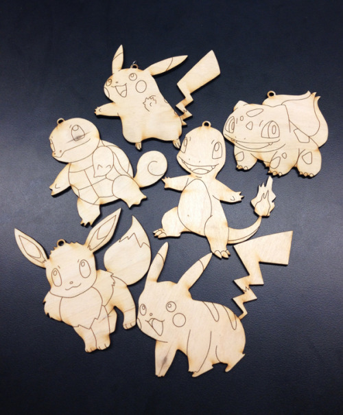 christinebobae:  What? Our school has a free laser cutter that can cut out anything?! POKEMON PLYWOOD KEYCHAINS AW YEAH!!
