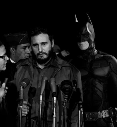 "futurejournalismproject:  Castro, Batman, and Superheroes Throughout History From Slate:  Harahap's Photoshopped ""Superhistory"" presents the past as if it were a comic book, seamlessly integrating pop culture icons into the photographs that build our collective memory.   must.click.through. so.amazing."