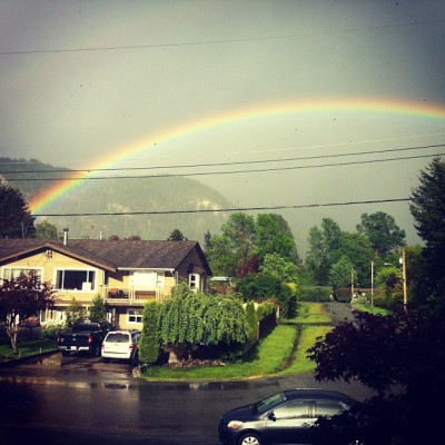 This is one of the few times I don't mind rain. #rainbow