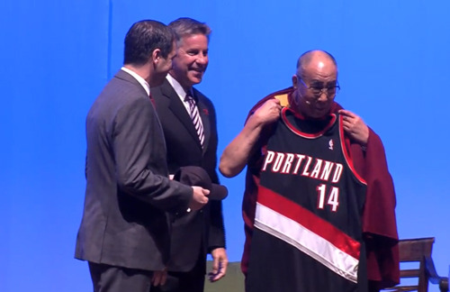 Oh you know. Just the dalai lama repping the blazers.