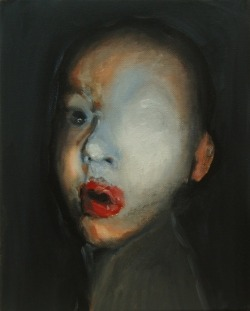 darksilenceinsuburbia:  Koen Pattyn. Boy With Red Mouth. Oil on canvas, 30 x 24.  Website