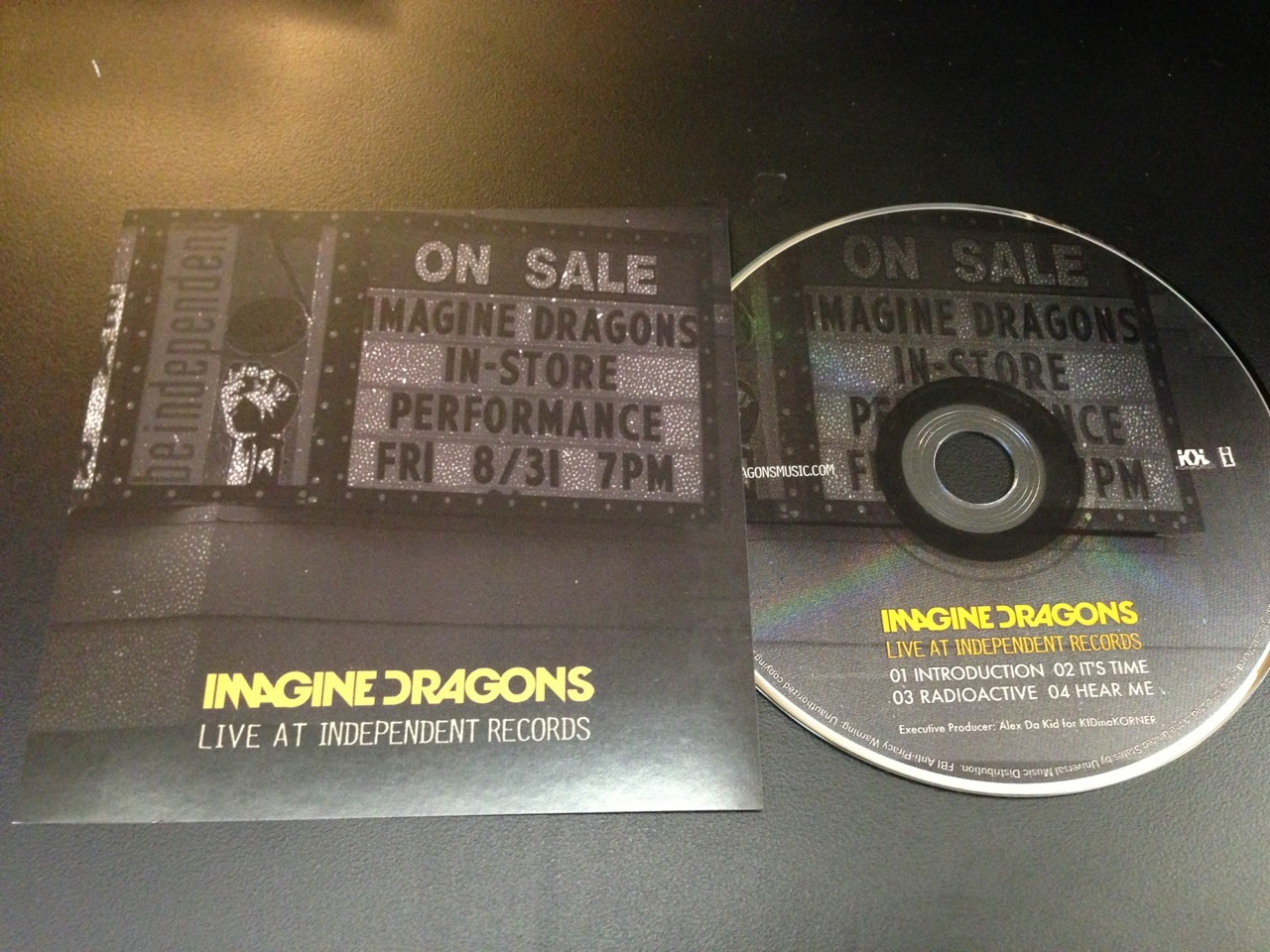 CD art for the Imagine Dragons live at Independent Records release for Record Store Day 2013