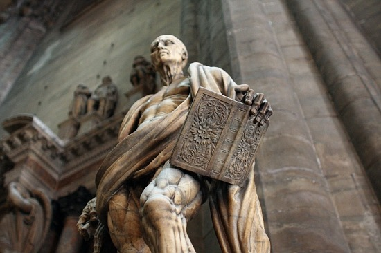 St. Bartholomew, an early Christian martyr with his draped skin over exposed flesh.