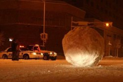 collegehumor:  Enormous Snowball in Madison  …conveniently rolled to a stop at the intersection.