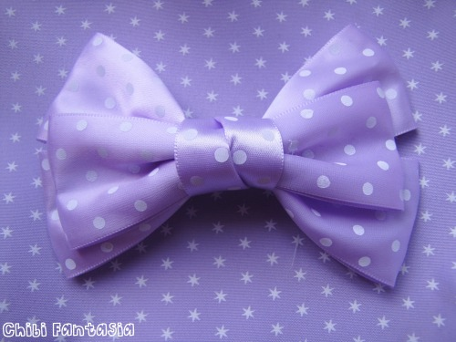 "riiri-chan:  Lilac Polka Dot Bow Use the code ""riiri-chan"" for 15% off all items!"
