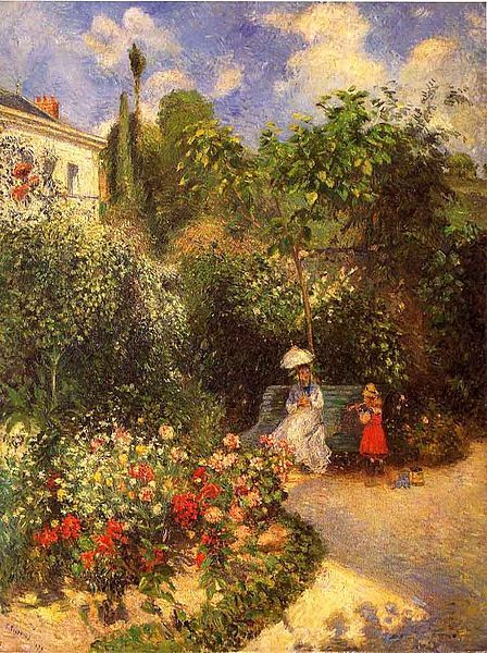 le-desir-de-lautre:  Camille Pissarro (French, 1830-1903), The Garden at Pontoise, 1877, oil on canvas.