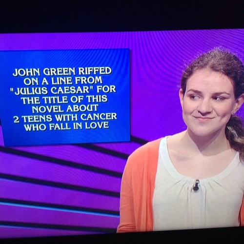 prideprejudiceandprettypictures:  So, uh, John Green was on Jeopardy today. @realjohngreen #TFioS #dftba #nerdfighters