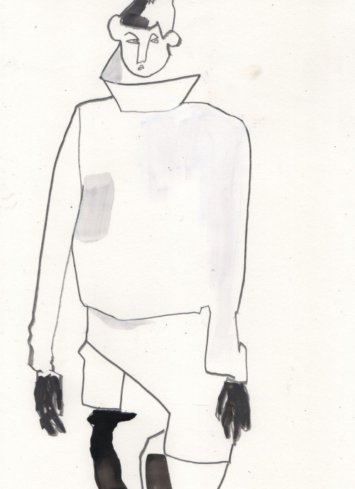 Rick Owens A/W13 illustrated by Helen Bullock