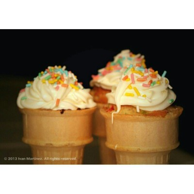 Cone Cakes. Is it cake? Is it ice cream? #conecakes #cake #icecream #sprinkles #desserts #diy #noviceadventures #pastries #photography #canonography #canon650d #sweets #treats #funfetti