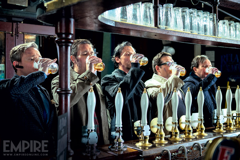 "fuckyeahmartinfreeman:  New still of The World's End from Empire:  ""the film's jaundiced hero, instigator of a pub-based reunion for his old muckers, raises a pint with said pals before the neutrin-ales start mutating. Left to right are Bluetoothed estate agent Oliver (Martin Freeman), one-time-rocker-turned-architectural-consultant Steven (Paddy Considine), successful lawyer and King's now-estranged bestie Andy (Nick Frost) and car dealer Peter (Eddie Marsan)"""