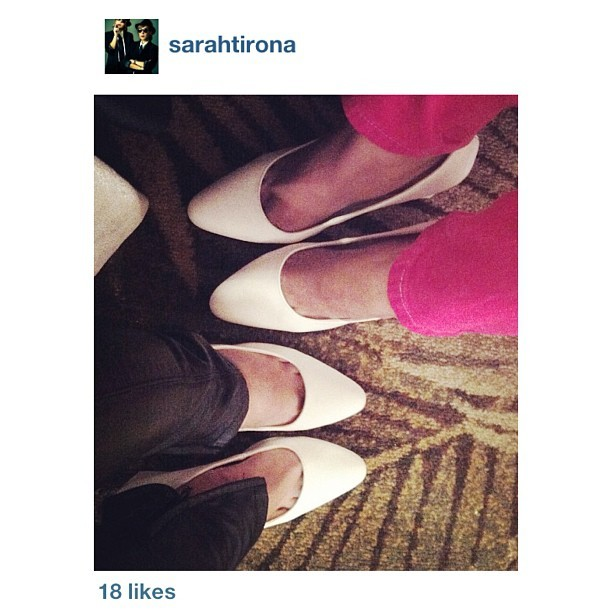 @sarahtirona and @anagon wearing their matching KARINE PUMPS in White! ❤