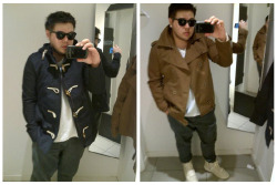 i have a serious jacket addiction. i really want both :( but so not in my budget right now. ughhhhh