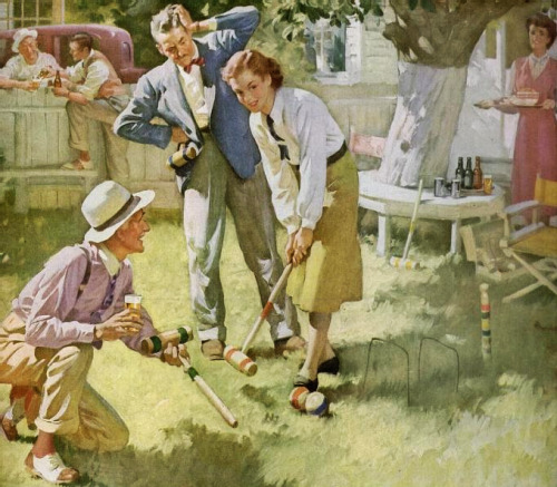 rogerwilkerson:  Croquet On The Lawn, art by Haddon Sundblom, 1948.