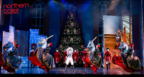 Scene from Northern Ballet's The Nutcracker with the Nutcracker and the Mouse King. Photo Bill Cooper.