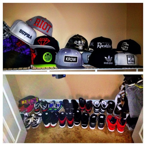 saraalterio:  The collection continues to grow. #style #snapbacks #adidas #nike #supra #fsas #karmaloop #diamondsupply