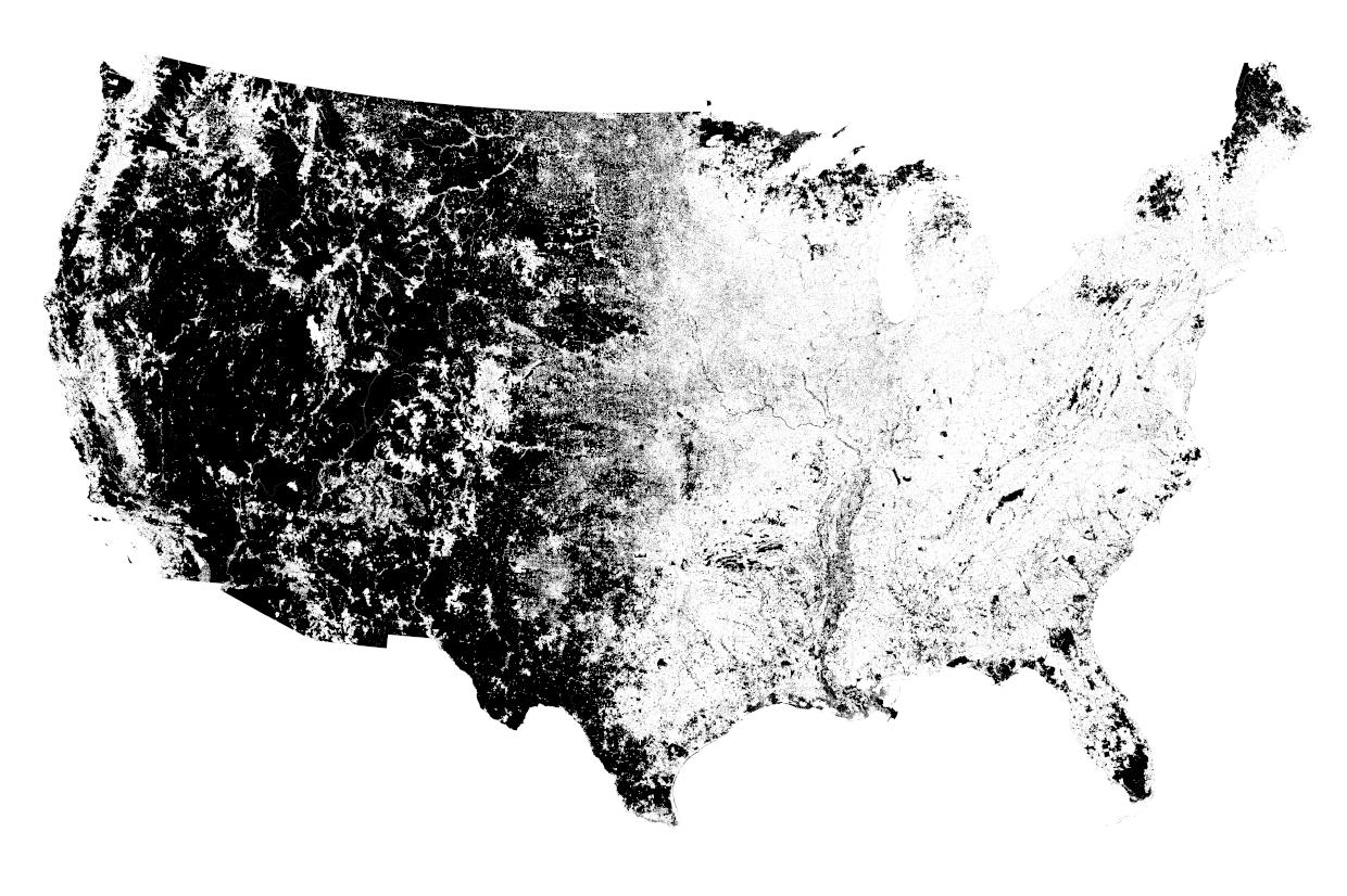mapsontheweb:  Where the 0.05% Live: <1 Person per Square Mile .