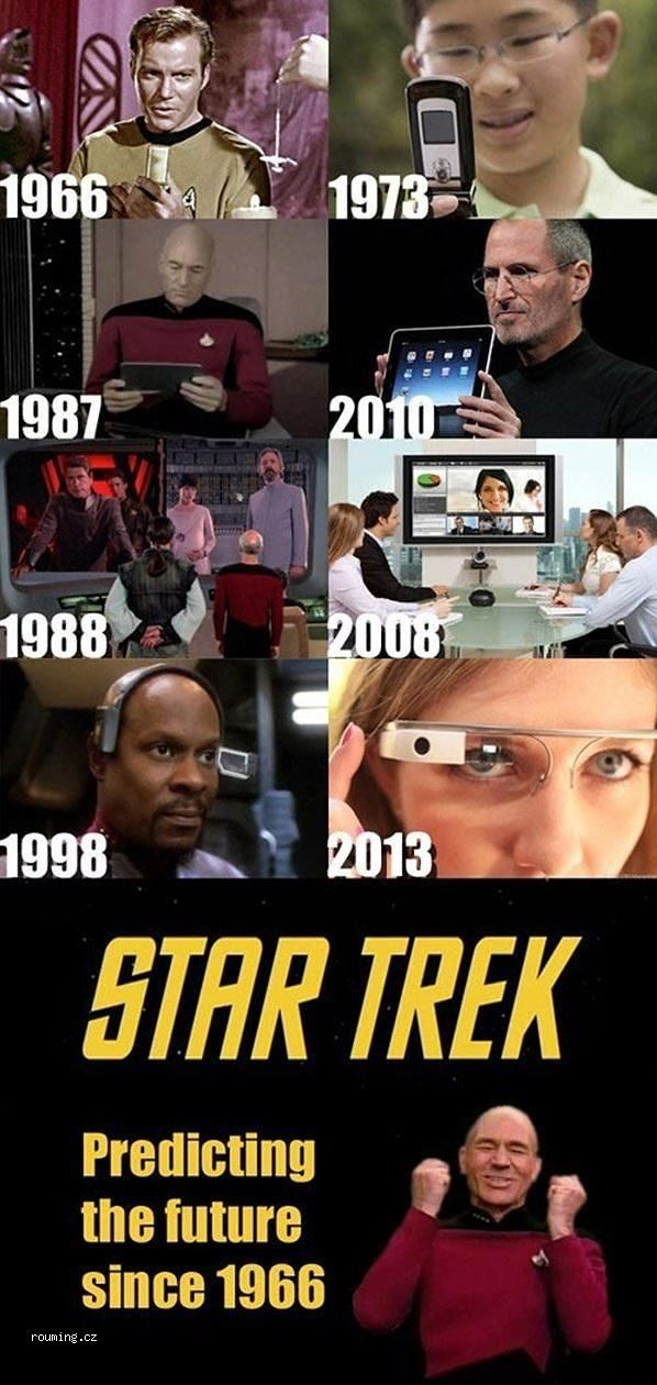 amireal2u:  i-made-my-choice-a-long-time-ago:  songofages:  bobeestinger:  muchymozzarella:  thefingerfuckingfemalefury:  ^ TRUTH Seriously, whenever I use a flip phone the first thing I always think of is Star Trek :D  NO  THIS SHIT AIN'T RIGHT STAR TREK DIDN'T PREDICT THE FUTURE FOOL IT CREATED THE FUTURE IT INSPIRED THE FUTURE THE REASON THESE THINGS EXIST IS BECAUSE STAR TREK MADE PEOPLE WANT THEM TO HAPPEN STAR TREK IS THE FUTURE  Dont forget about automatic doors  People are currently trying to make tricorders  as well. So far it can monitor heart functions.  oh an hyposprays are in the works, too  Depending on your definition of hypospray, they're already here. My migraine medication comes in a needle-less inject-able container. That's right ladies, gents and everyone in between and together, it uses air pressure. And it's SO COOL. (And yes it still hurts, Jim Kirk's hypospray face is totally justified.) Currently it's single use, so the star trek version which is auto-santizing, multi use for multiple drugs in a row isn't quite here yet, but we're a lot closer than some people think. And that's just really fucking awesome!  Ok, so where the fuck is my damn teleporter? My work commute sucks!