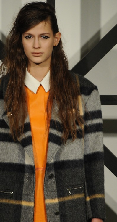 Remembering the Menswear AW13 Trends: Orange and Checks… Interpreted into womenswear at the @TanyaTaylorNYC show #NYFW