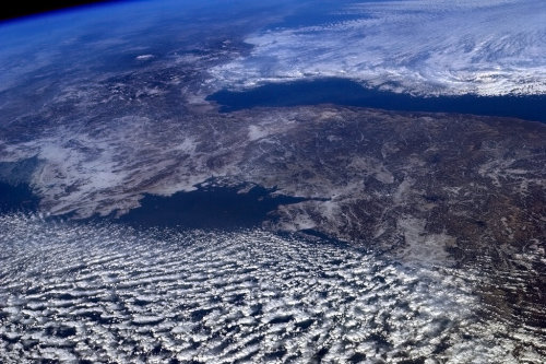 Unification from space. The Korean peninsula, cut through the centre by a line of historic depth.