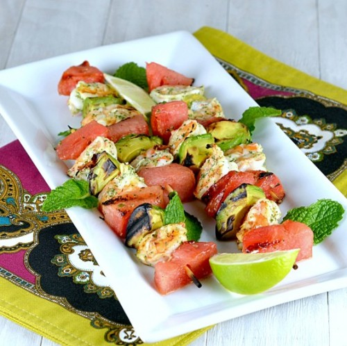 healthyliving-and-fitness:  Thai Grilled Shrimp Skewers with Avocado & Watermelon