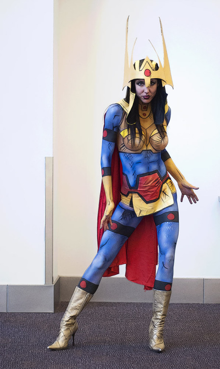Lisa's project from Saturday of 2013 IMATS. The character is Big Barda from the DC universe. Model is Evina Luna.