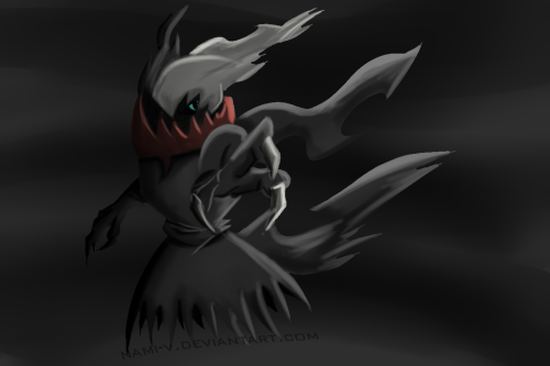 nami-stardust:  Darkrai by ~Nami-v  so…those days I´m drawing legendary pokemons for class :S here is one of them  http://www.youtube.com/watch?v=jXiq1lEumfM «process