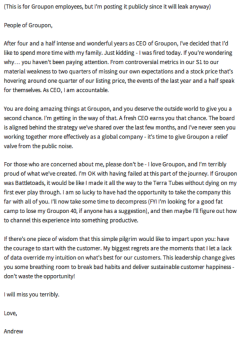 Andrew Mason's winning goodbye email - sent after he got fired by Groupon via