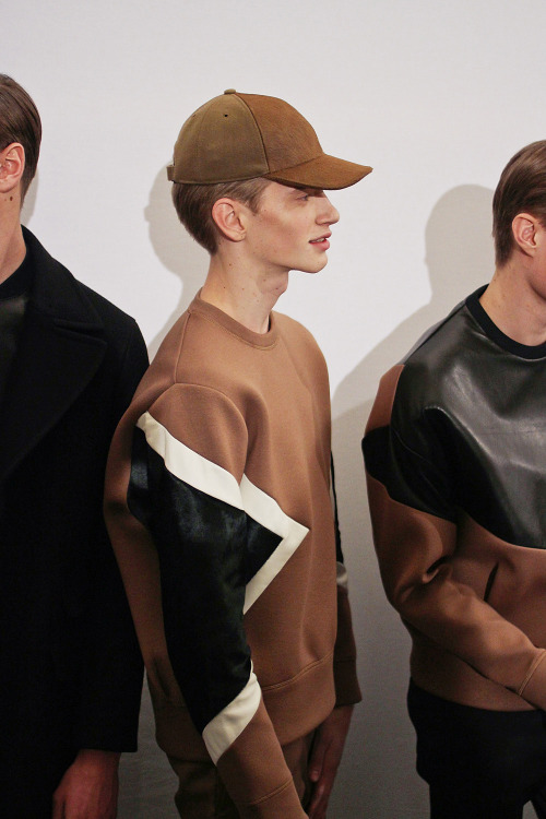 ladsreligion:    Justin Sterling | Neil Barrett AW13 Backstage - hats -