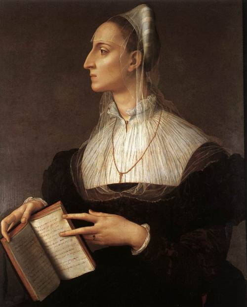 fashioninpaintings:  Portrait of Laura Battiferri by Agnolo Bronzino, 1550-1555
