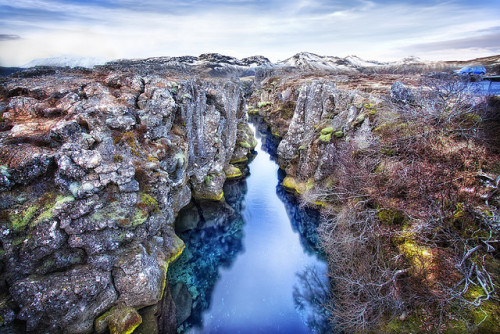 Rift Zone Stream, Þingvellir (Thingvellir) National Park, Iceland by WanderingtheWorld (www.LostManProject.com) on Flickr.Via Flickr: Þingvellir is odd.  The place is full of stunning beauty and scenic views.  It is a national park to protect this but oddly it's the site of the first legislative assembly of Iceland.  People would come here to study, create and uphold the law of the land.  On the aesthetic front the area is littered with cracks and faults.  The geographic landforms traverse the region and have filled up with water from the areas natural springs.  It was perhaps the clearest water I've ever seen.  I wanted to jump in but I think it would have been a little chilly.  Nothing a little Icelandic 'Gull' beer couldn't remedy.   I took this photo with 3 exposures (-2,0, 2)  I used some Lucis Pro which I get into detail below as well as the usual photoshop.   TIP - Some people have asked me about how to make their photos pop.  Well that's like my ultimate holy grail… i'm still searching for methods on how to do that.  One method is to purchase Lucis Pro.  I can't say the price is justified but whatever math genius invented that algorithm has made a little bit of money.  It does a great job in terms of clarity/definition and isn't limited to darks and lights… it does just as well on colors.  When I struggle to bring an area in focus I always look to Lucis Pro.  It also does wonders on picking up reflections and colors in water.