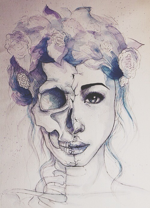 Love Drawing Illustration Death Skulls Art Girls Girl Rock Hipster
