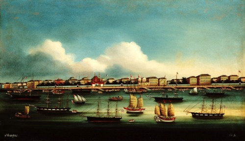 """The Bund At Shanghai ""  ….  Chinese School Maritime Painting [Circa 1860]"