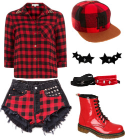 Red and Black por shilky con lace up bootiesDorothy Perkins black shirt / Lace up booties, $31 / Bangle bracelet / Hat, $27