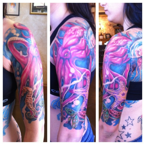 fuckyeahtattoos:  My finished marine life half sleeve! Done by Jesse Britten in Saint Augustine, FL.