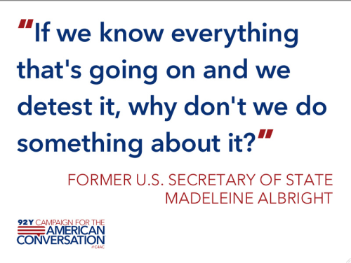 Compelling question from former Secretary of State Madeleine Albright, regards to the emerging international doctrine aimed at protecting civilians from genocide and other forms of mass atrocities.  What do you think? Read more, and watch video from the event.