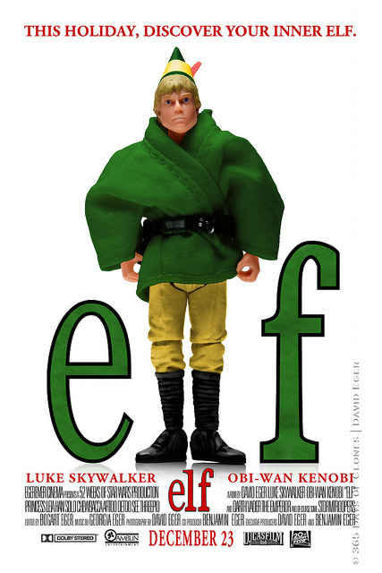 "51/52 | Elf on Flickr. 52 Weeks of Star Wars  is a weekly photo project starring various characters from the Star Wars franchise. This photo project is a continuation of sorts to my original series; 365 Days of Clones, specially my Cloned Photos mini-series. Today marks the Fifty First creation in this year long adventure. As the title suggests; 52 Weeks of Star Wars, one new photo will be taken, edited and added to the running total every Sunday. The twist is that all the images will be a recreation of sorts of a previous image. Some; like today, will be a recreation from a movie poster, while others will be recreations of famous images of the 20th century or album covers. There may even be the odd recreation of a painting! ""Elf"" is my recreation of Will Ferrell's Christmas tale of Buddy the Elf. Elf tells the story of a human boy who is orphaned and finds his way to the North Pole. He is raised by Santa's Elfs. Eventually he realizes that he is not an elf but rather is human. Buddy seeks his father in New York and the story goes on…  Some of you may be wondering why I chose to create a Cloned Photo based upon this particular movie poster. As you all know, Christmas is in a few days so I decided I should create a photo with this theme. Luke, much like Buddy is an orphan. Through the course of Elf, Buddy searches for his father. Similarly, Luke discovers his father is Darth Vader (formally Anakin Skywalker). Another crazy connection, I know… but as I've said before, they all are!  Enjoy!  Subscribe to 52 Weeks of Star Wars RSS 