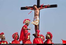 "VOLUNTEERS nailed to crosses on Good Friday in San Fernando Pampagna, Philippines. They do this by choice to allow them to atone for their sins. Yes they are really nailed to the cross through the hands and the feet. They are taken down when they feel they have ""atoned enough."" Rueben Enaje (not in photo) holds a world record (in Guinness world book) for being crucified more than anyone else. I met him on the ""cutud"" mound after his 24rd time on the cross. He is still at it."