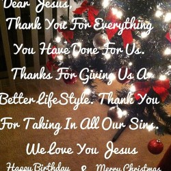 dear jesus, thank you for everything you have done for us. thanks for giving us a better life style. Thank you for taking in all our sins. we love you jesus❤ happy birthday & merry christmas 😊