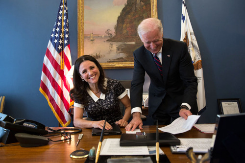 "Being Biden: Vice President Joe Biden with Julia Louis-Dreyfus of the TV show ""VEEP"" Official White House Photo by Lawrence Jackson"