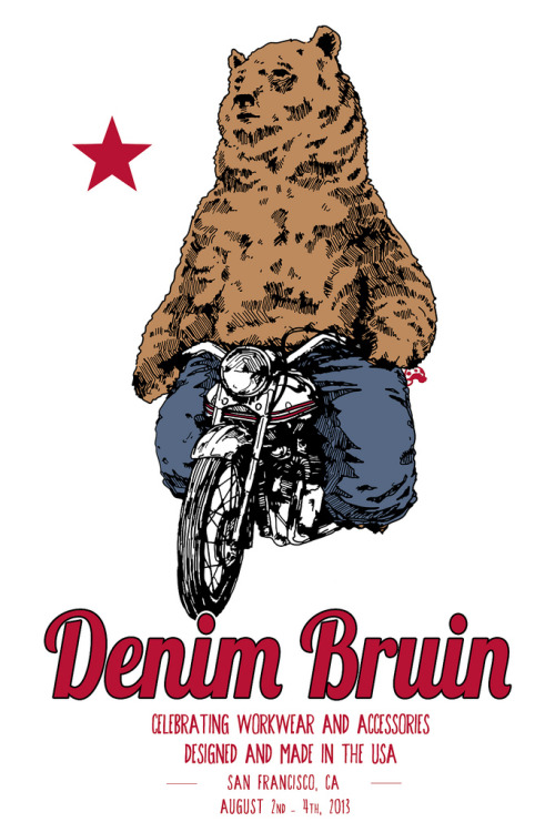 Denim Bruin 2013 - Denim Bruin was first held in Oakland and San Francisco last summer as a meet-up for industry people and enthusiasts from the epicenter of denim and workwear. Details are coming together for 2013 including a presentation of historic garments from the Levis-Straus Archives, new apparel by California based denim brands, international guests and a reception at AB Fits in San Francisco's historic North Beach. Watch for further details.