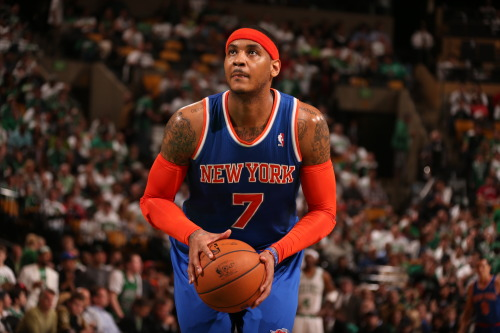 nba:  Carmelo Anthony of the New York Knicks shoots a free throw in Game Six of the Eastern Conference Quarterfinals against the Boston Celtics during the 2013 NBA Playoffs on May 3, 2013 at the TD Garden in Boston. (Photo by Nathaniel S. Butler/NBAE via Getty Images)