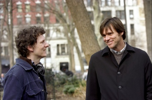 fuckyeahdirectors:  Michel Gondry and Jim Carrey on-set of Eternal Sunshine of the Spotless Mind (2004)